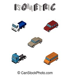 Isometric Car Set Of Autobus, Auto, Car And Other Vector Objects. Also Includes Lorry, Car, Sedan Elements.