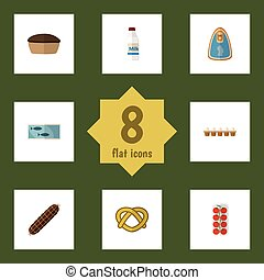 Flat Icon Food Set Of Cookie, Eggshell Box, Tin Tuna And Other Vector Objects. Also Includes Canned, Tasty, Tart Elements.
