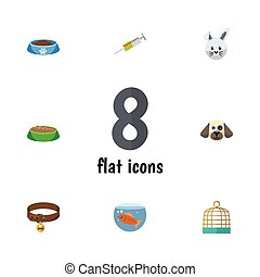 Flat Icon Pets Set Of Hound Necklace, Bunny, Fishbowl And Other Vector Objects. Also Includes Collar, Rabbit, Dog Elements.