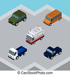 Isometric Transport Set Of Suv, Autobus, Armored And Other Vector Objects. Also Includes Truck, Bus, Lorry Elements.