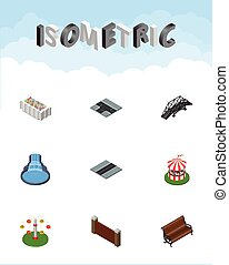 Isometric Urban Set Of Path, Swing Attraction, Crossroad And...