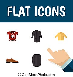 Flat Icon Clothes Set Of Banyan, Stylish Apparel, Uniform And Other Vector Objects. Also Includes Man, Blouse, Apparel Elements.