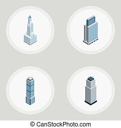 Isometric Building Set Of Cityscape, Apartment, Urban And Other Vector Objects. Also Includes Apartment, Skyscraper, Cityscape Elements.