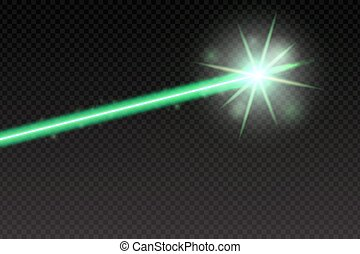Abstract green laser beam. Magic neon light lines isolated...