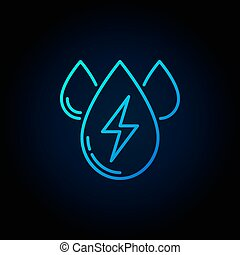 Water energy outline blue icon - vector three water drops...