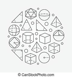 Trigonometry and geometry illustration - vector round...