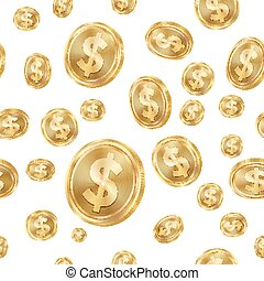 Dollar Seamless Pattern Vector. Gold Coins. Isolated...