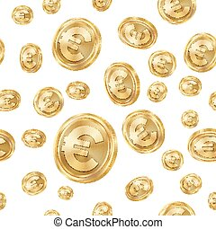 Euro Seamless Pattern Vector. Gold Coins. Isolated...