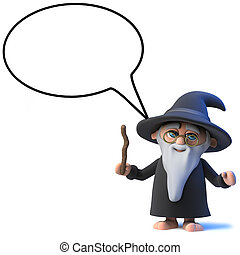 3d Funny cartoon wizard magician character with speech...