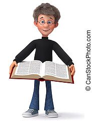 3d illustration funny student with glasses