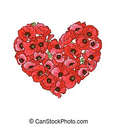 Heart of red poppy flowers isolated on white background. Vector illustration.