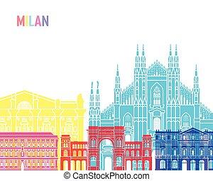 Milan skyline pop - Milan V2 skyline pop in editable vector...