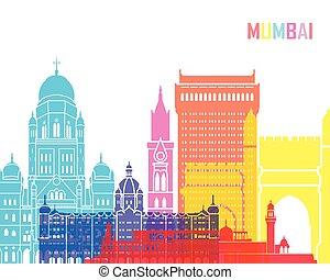 Mumbai skyline pop in editable vector file