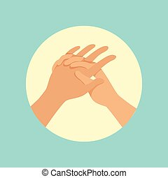 Washing hands procedure round vector Illustration on a light...