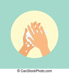 Washing hands with soap palm to palm round vector...