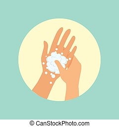 Washing hands, focus on palm round vector Illustration on a...