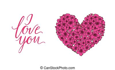 Heart of pink phlox flowers isolated on white background and...
