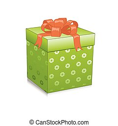 Illustration with green gift box isolated on white background. Vector illustration.