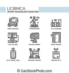 Smart Technology - modern vector flat line desigm icons set....