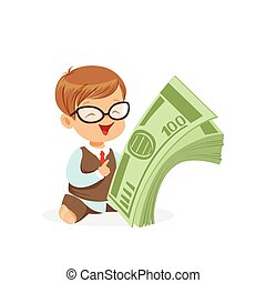 Cute boy businessman holding stack of money, kids savings and finance, richness of childhood vector Illustration