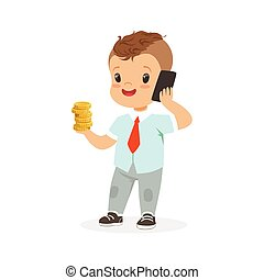 Cute boy businessman talking on smartphone and holding stack of gold coins in his hand, kids savings and finance, richness of childhood vector Illustration