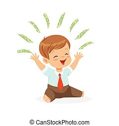 Happy boy businessman, playing with money flying over his...