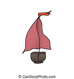 boat with a red sail. vector illustration. Drawing by hand....