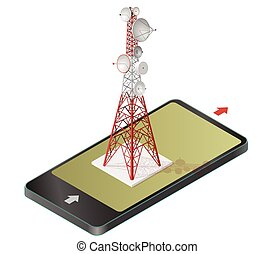 Vector satellite tower in mobile phone, transmission...