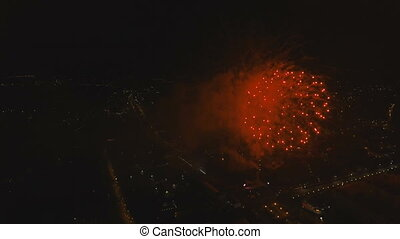 Fireworks in the night sky - Aerial view Beautiful fireworks...