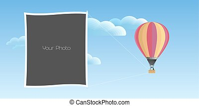 Photo frames collage with fun travel background vector illustration