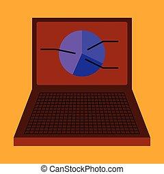 flat icon on stylish background Laptop chart