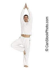 hombre, vestido, blanco, Practicar, yoga