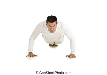 man in white does push-ups