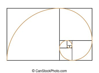 Fibonacci spiral symbol. Golden ratio graph isolated on...