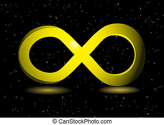 golden infinity symbol on black background and sparkling...