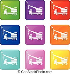 Truck crane set 9 - Truck crane icons of 9 color set...