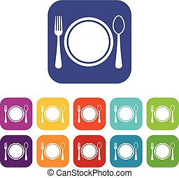 Place setting with plate,spoon and fork icons set vector...