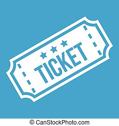 Movie ticket icon white isolated on blue background vector...