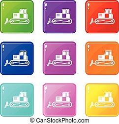 Bulldozer set 9 - Bulldozer icons of 9 color set isolated...