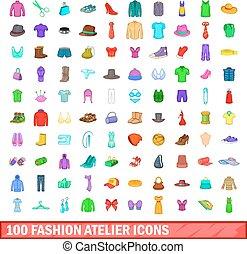 100 fashion atelier icons set, cartoon style - 100 fashion...