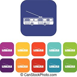Trolleybus icons set vector illustration in flat style in...