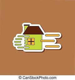 paper sticker on stylish background wind destroys house -...