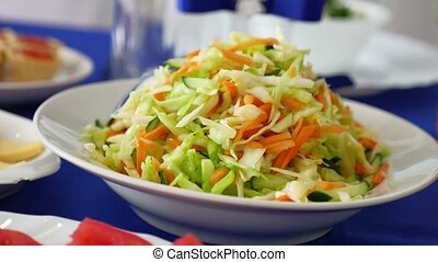fresh vegetables salad with cabbage and carrot delicious -...
