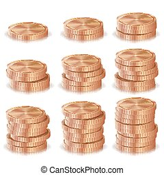 Bronze, Copper Coins Stacks Vector. Silver Finance Icons, Sign, Success Banking Cash Symbol. Realistic Isolated Illustration