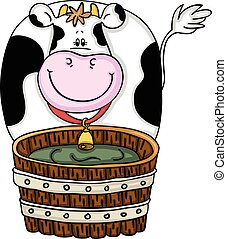 Cute cow with wood barrel - Scalable vectorial image...