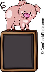 Cute pig on top of on black chalkboard - Scalable vectorial...