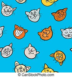 cartoon wrapping paper with cats - Cartoon Illustration of...