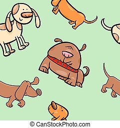cartoon wrapping paper with dogs - Cartoon Illustration of...