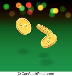 Flying coins on green background. Vector casino illustration.