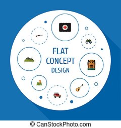 Flat Icons Zoom, Weapon, Location And Other Vector Elements. Set Of Camping Flat Icons Symbols Also Includes Mount, Map, Guitar Objects.